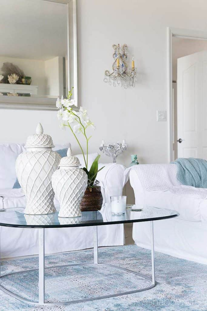 Faux flowers coastal beach white living room
