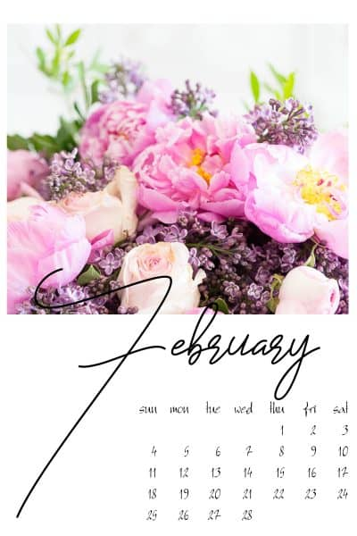 February floral calendar page free for subscribers