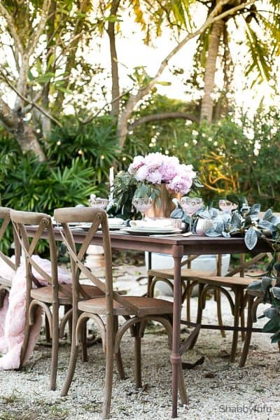 french country outdoor entertaining table setting