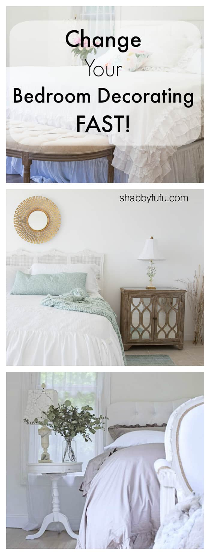 How to change your bedroom decorating fast with tips for moving the placement of your bed, changing the linens, headboard selection and more