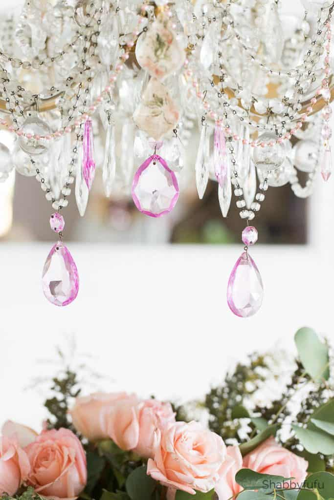 chandelier makeover for spring feminine lighting