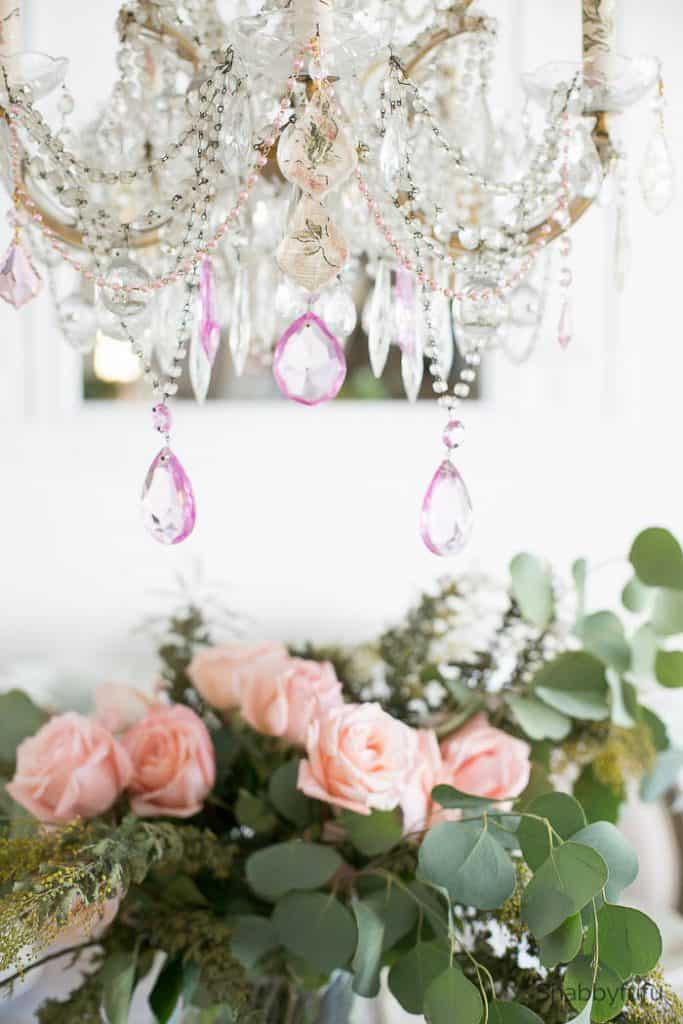 chandelier makeover for spring pink crystals