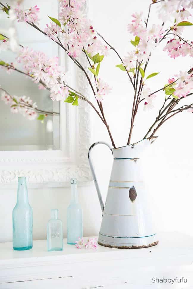spring decor ideas faux cherry blossom spring flowers