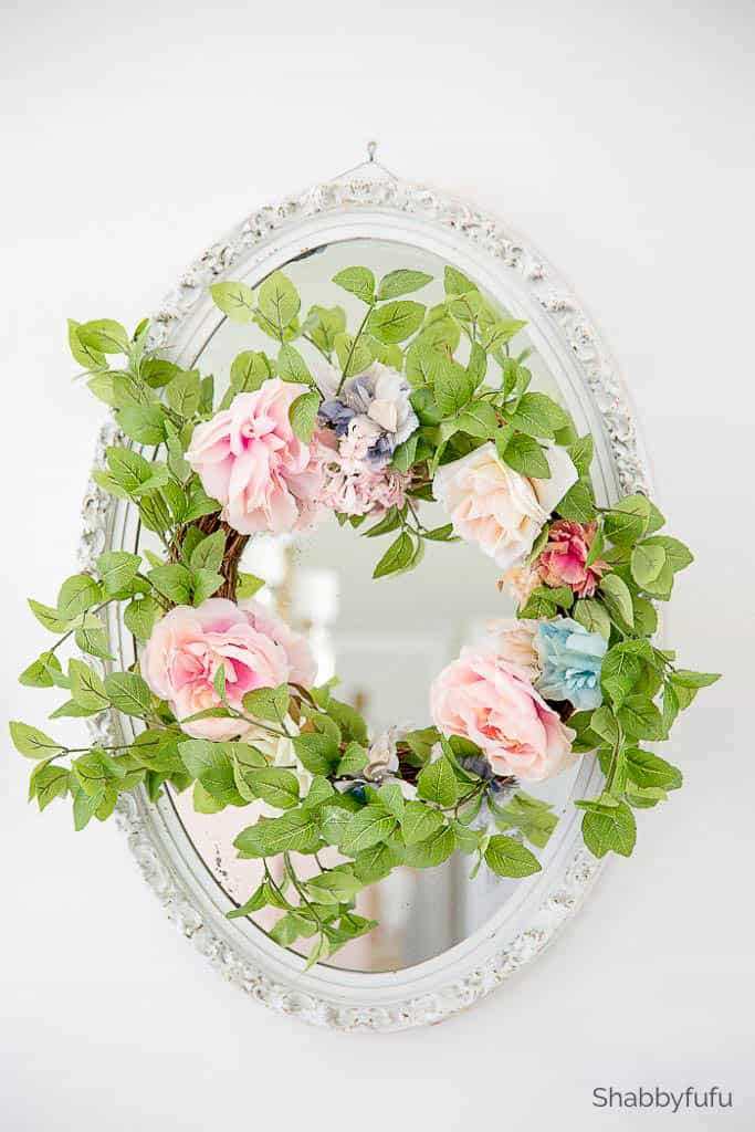 spring decor ideas recycled wreath shabbyfufu