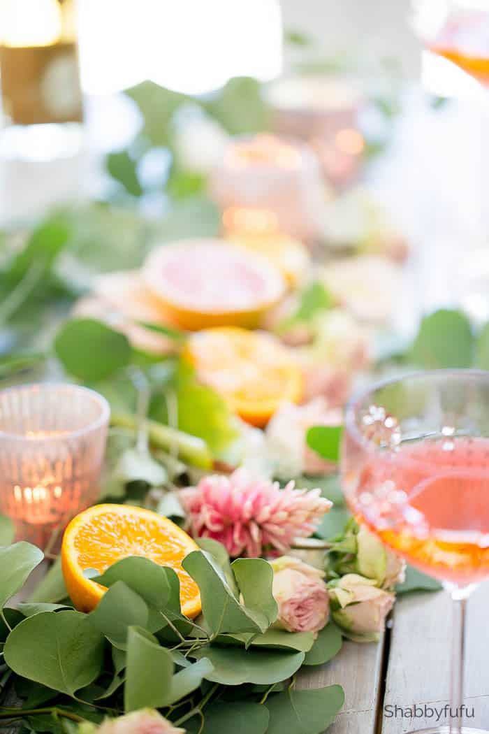 citrus table setting runner