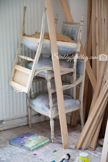 french chairs stacked