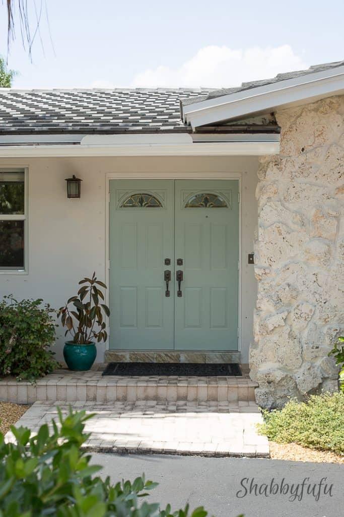 light blue green outside door