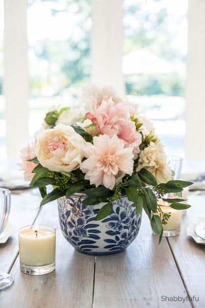 french country spring flower arrangement