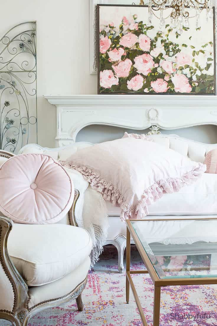french country blush pink living room shabbyfufu