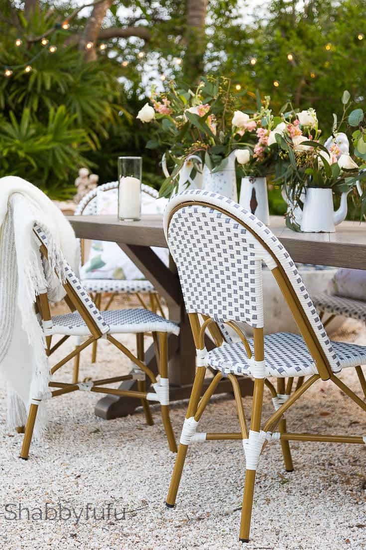 french coastal style patio bistro chairs