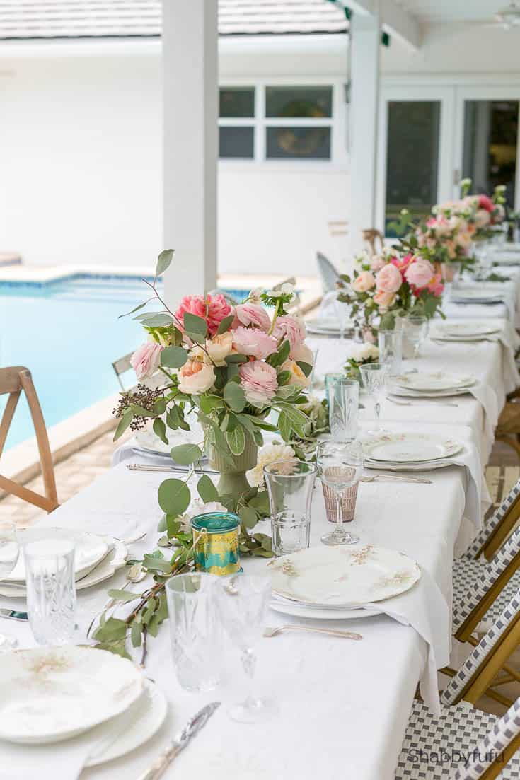 backyard wedding reception french coastal style
