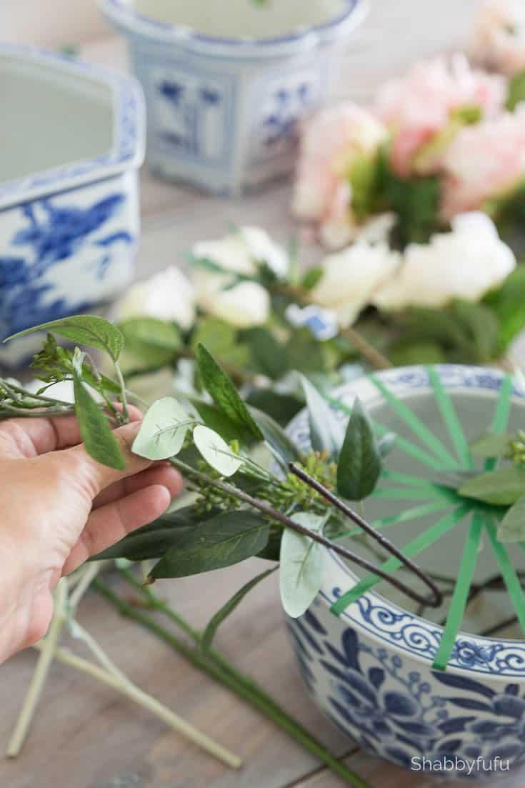 fake greenery flower arranging