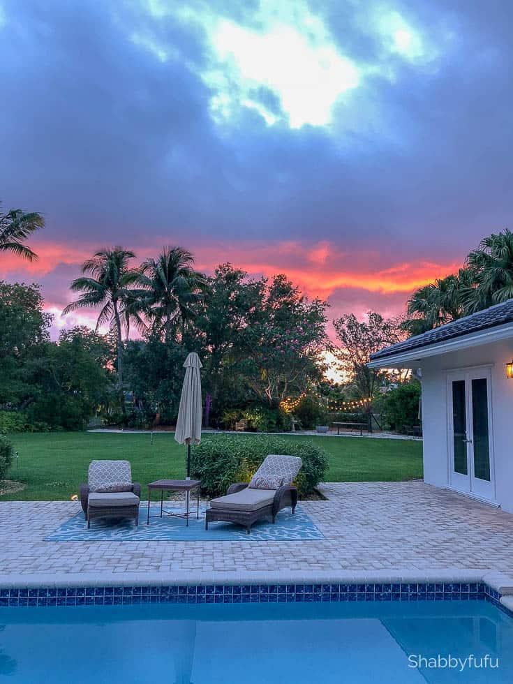 miami pool patio sunset shabbyfufu french coastal style