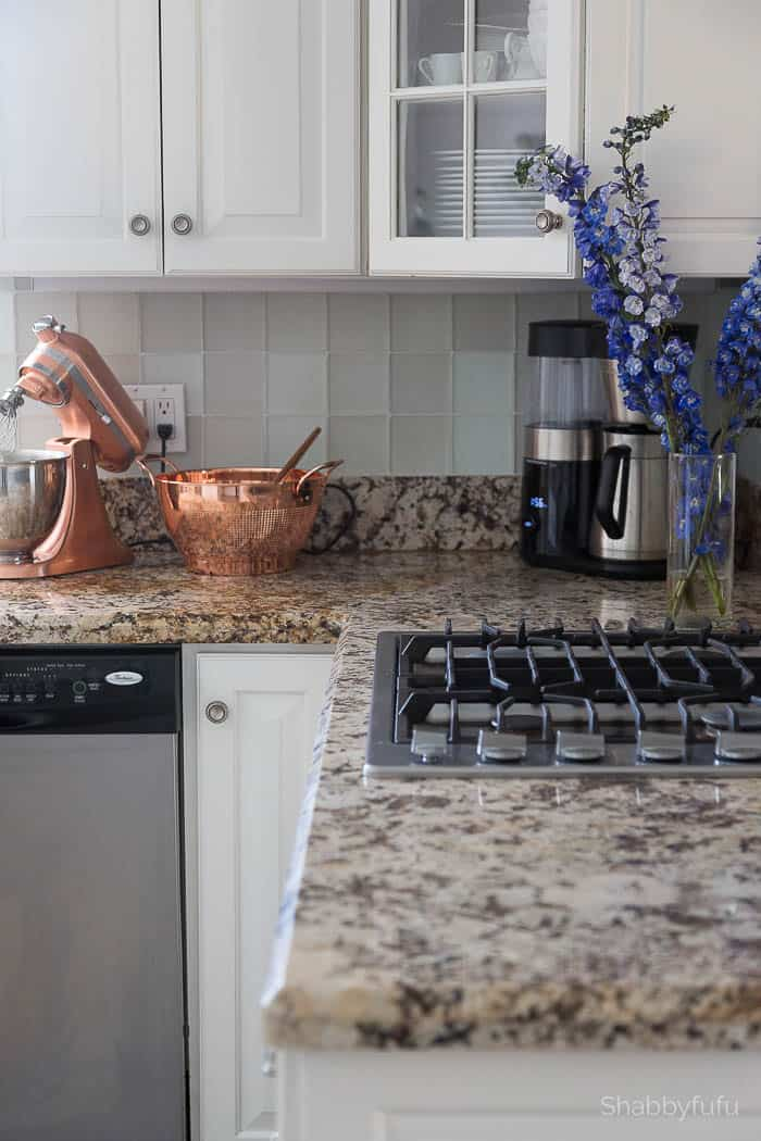 sea glass tile backsplash kitchen before