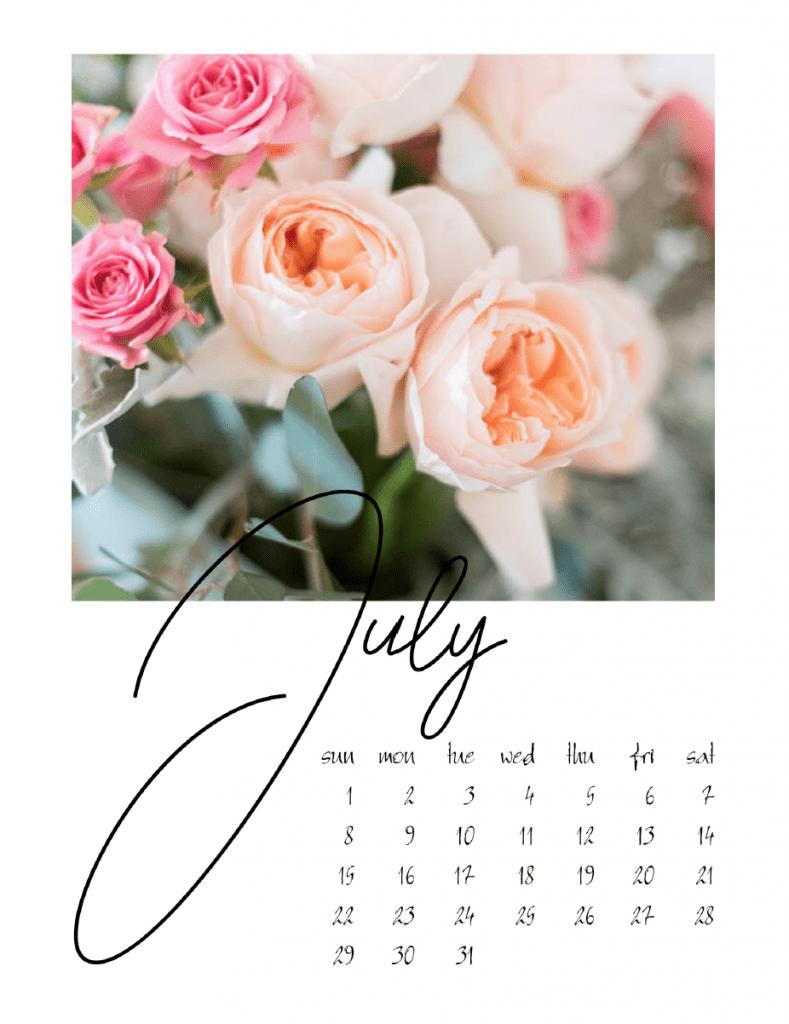 July calendar page shabbyfufu.com