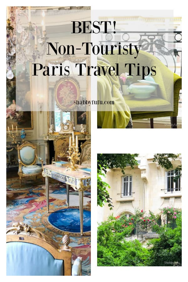 Paris travel tips that are not the usual tourist things to do. Stay in a boutique hotel, visit small museums, brocante shopping, fresh air markets, eat French onion soup at bistros, fleur markets, stroll the parks, photograph the architecture, eat lunch at a tearoom and more. Shabbyfufu.com