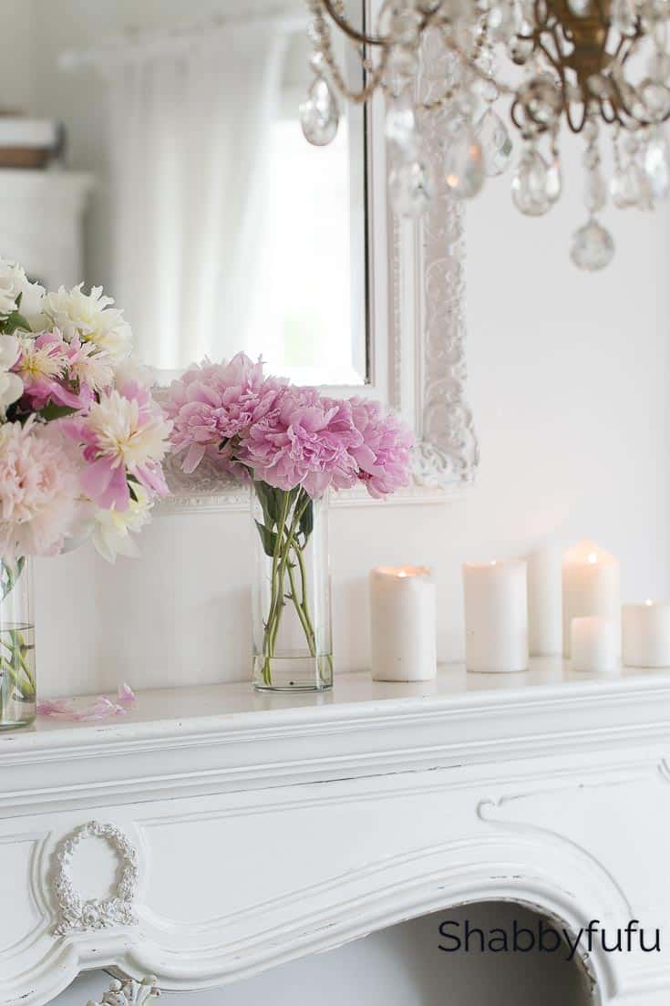 blush pink decorating ideas candles on a mantel