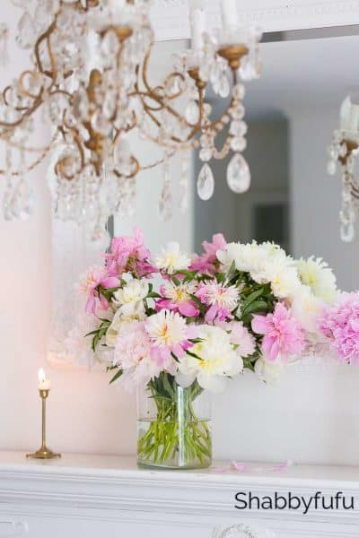 blush pink decorating ideas peony mantel
