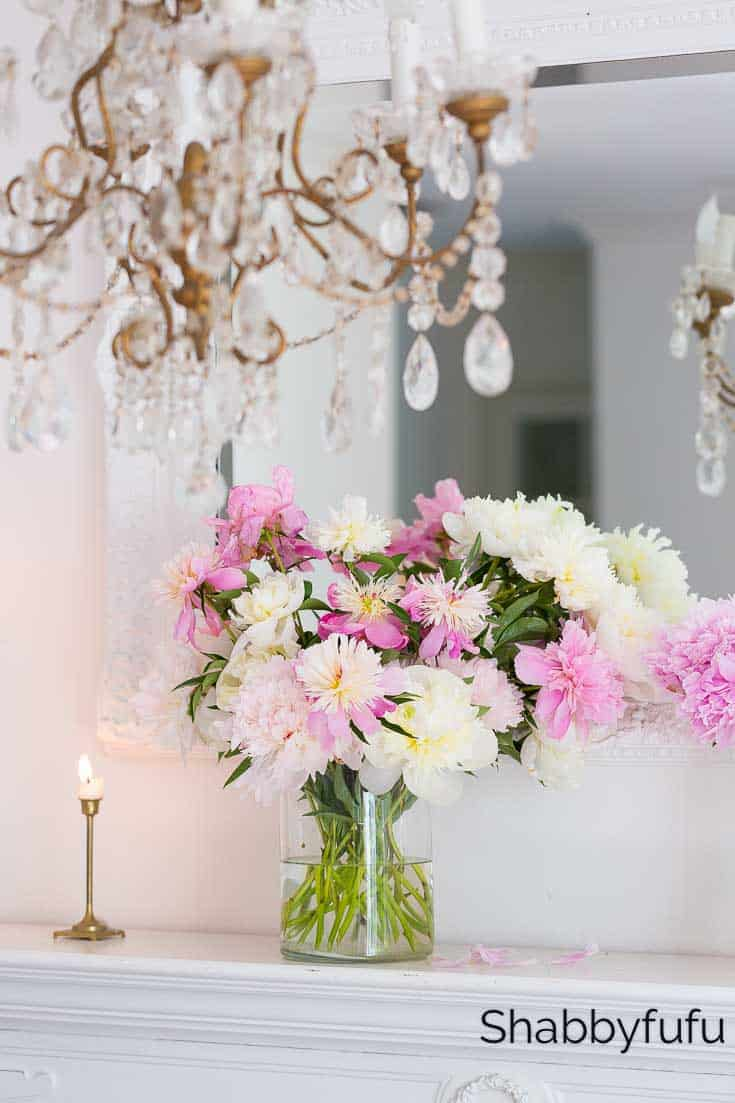 blush pink and white summer decorating ideas peony mantel