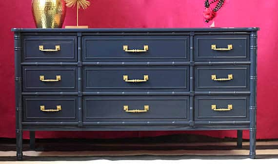 designer furniture navy blue painted bamboo chest