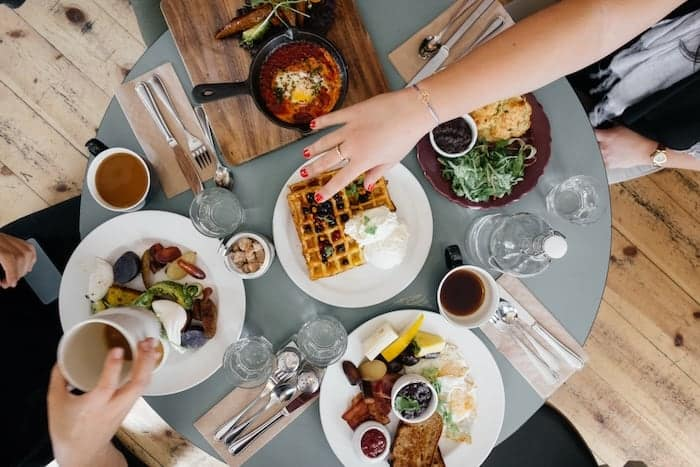 save money budget entertaining ideas - breakfast flatlay