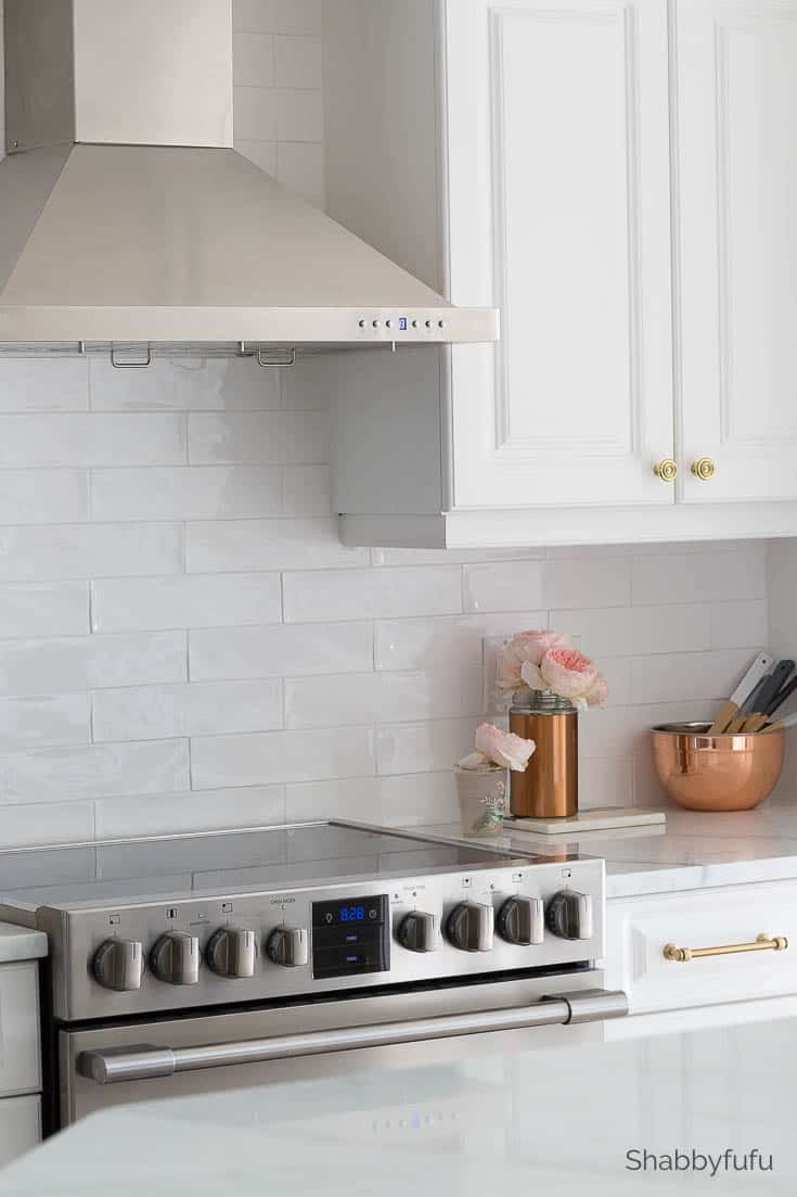 kitchen on a budget - white subway tile