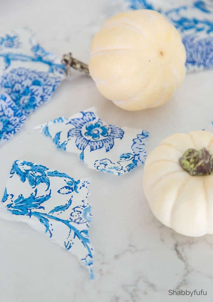 blue and white Chinoiserie Pumpkins DIY