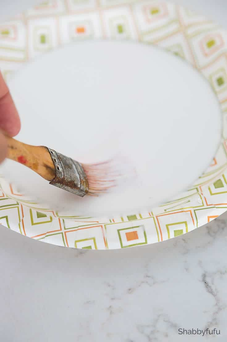 chinoiserie pumpkin diy paper plate with glue