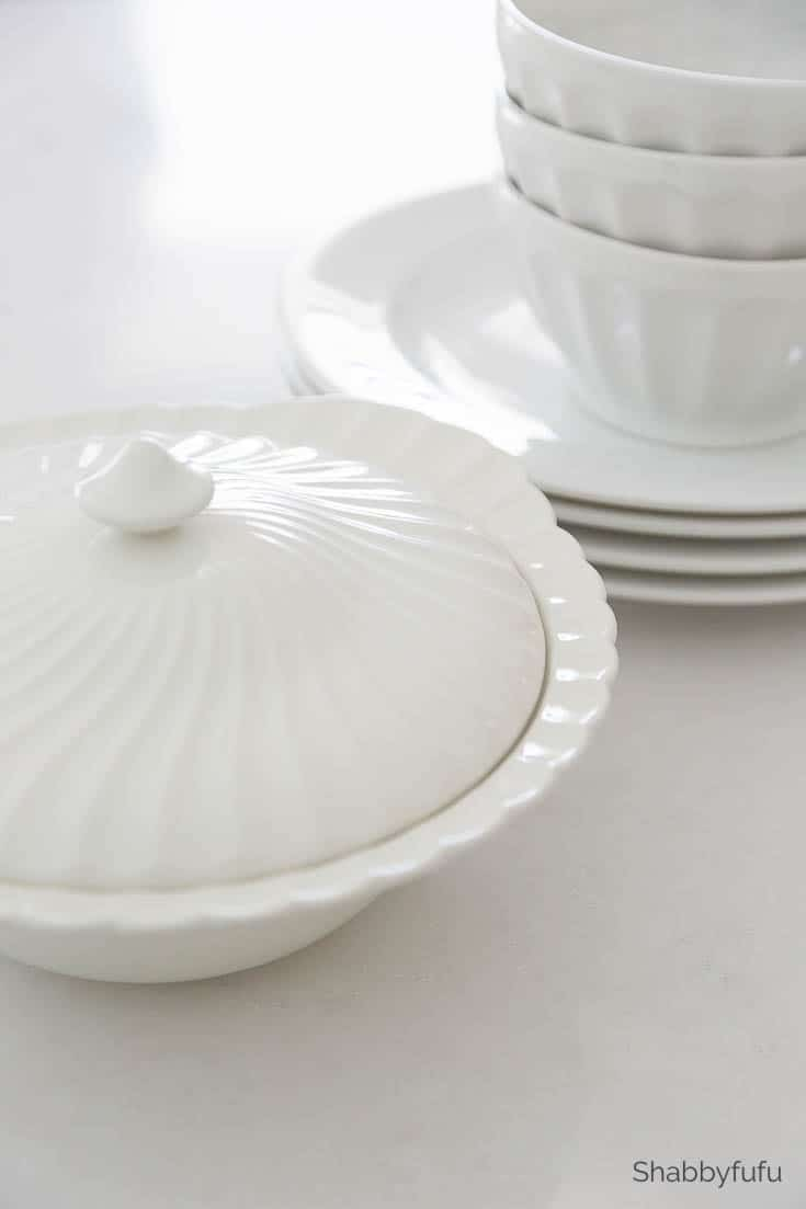 resale shops - white ironstone dishes