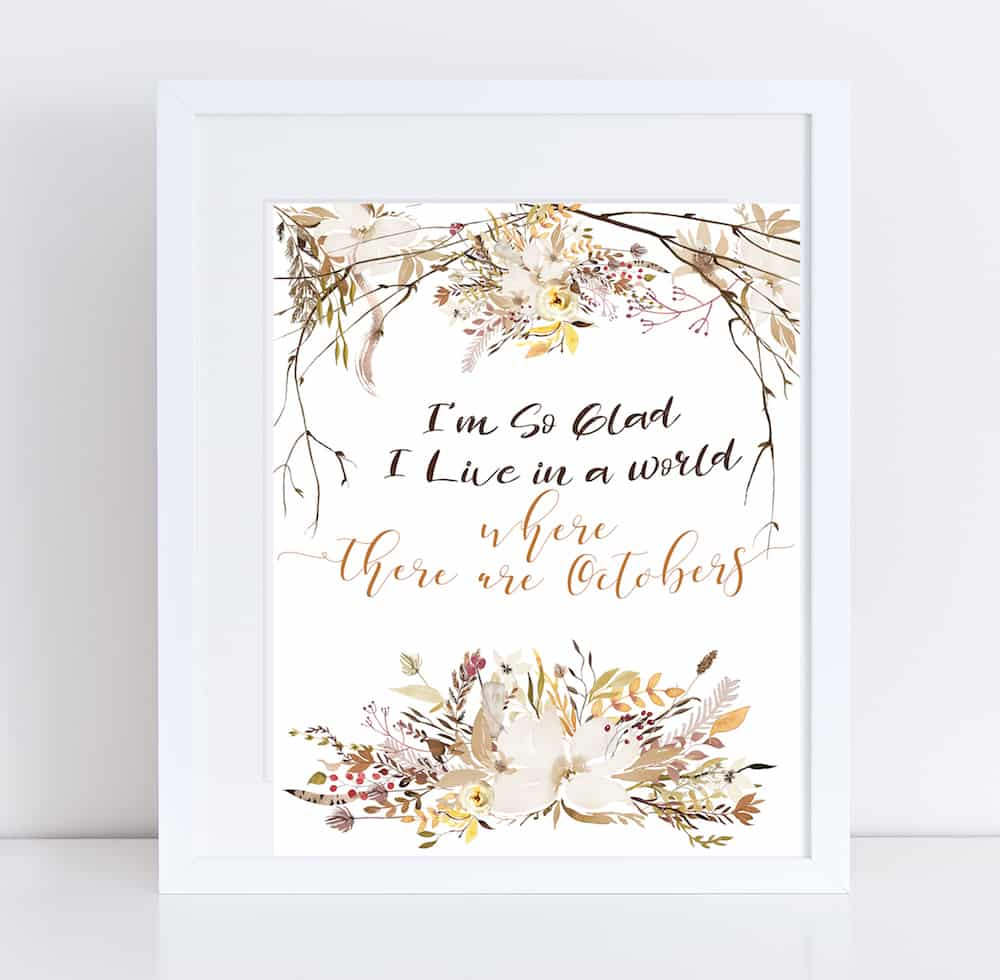 I'm so glad fall watercolor framed