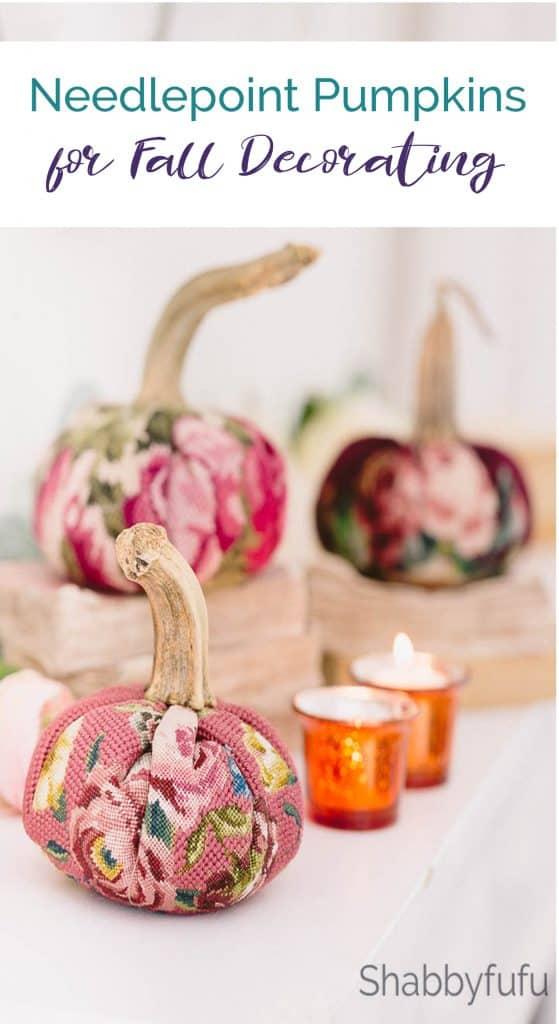 needlepoint pumpkins fall decorating