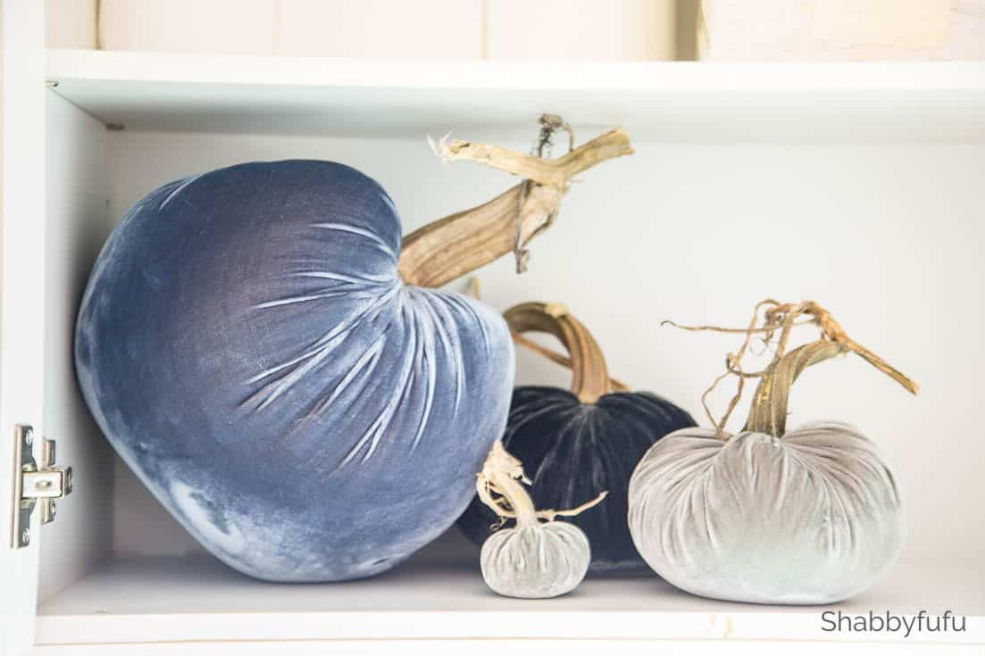 clever storage ideas blue velvet pumpkins