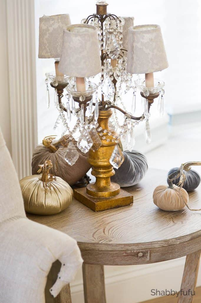 master bedroom table with pumpkins