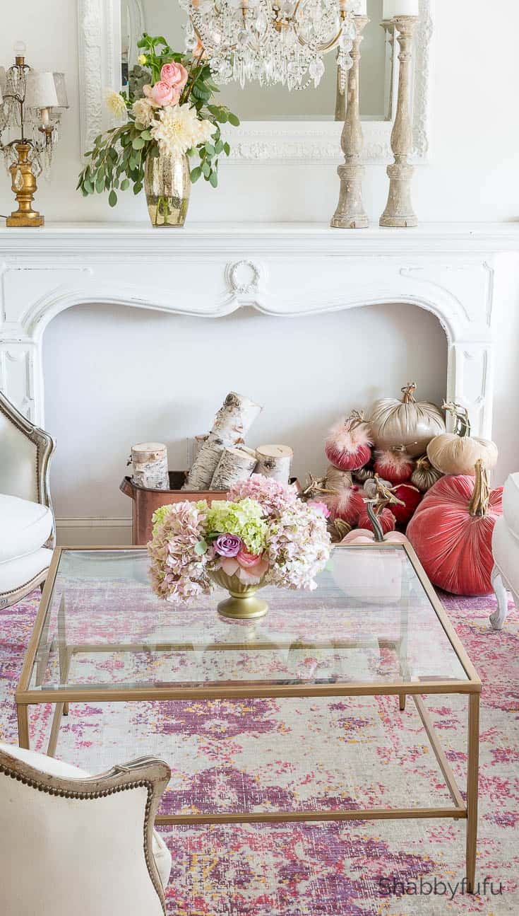 pink living room fall autumn