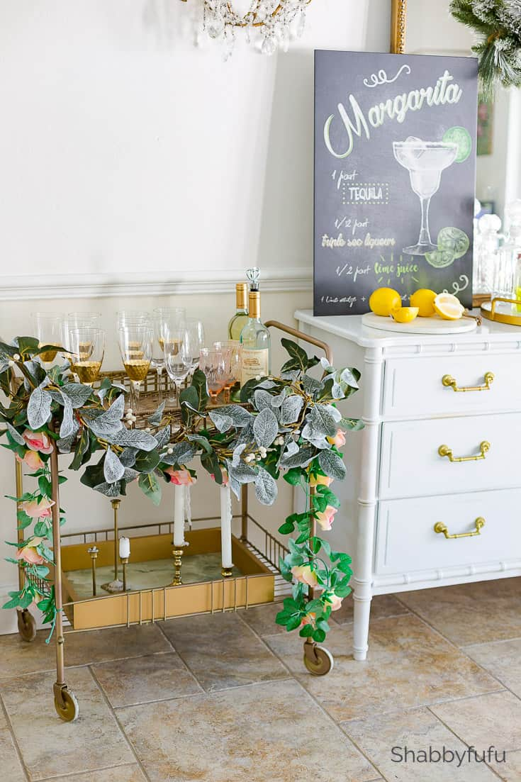 vintage bar cart party in small dining spaces