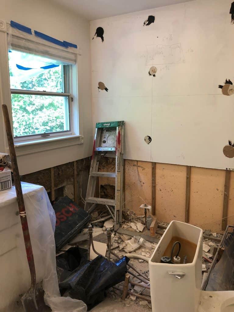 master bathroom remodeling project demolition
