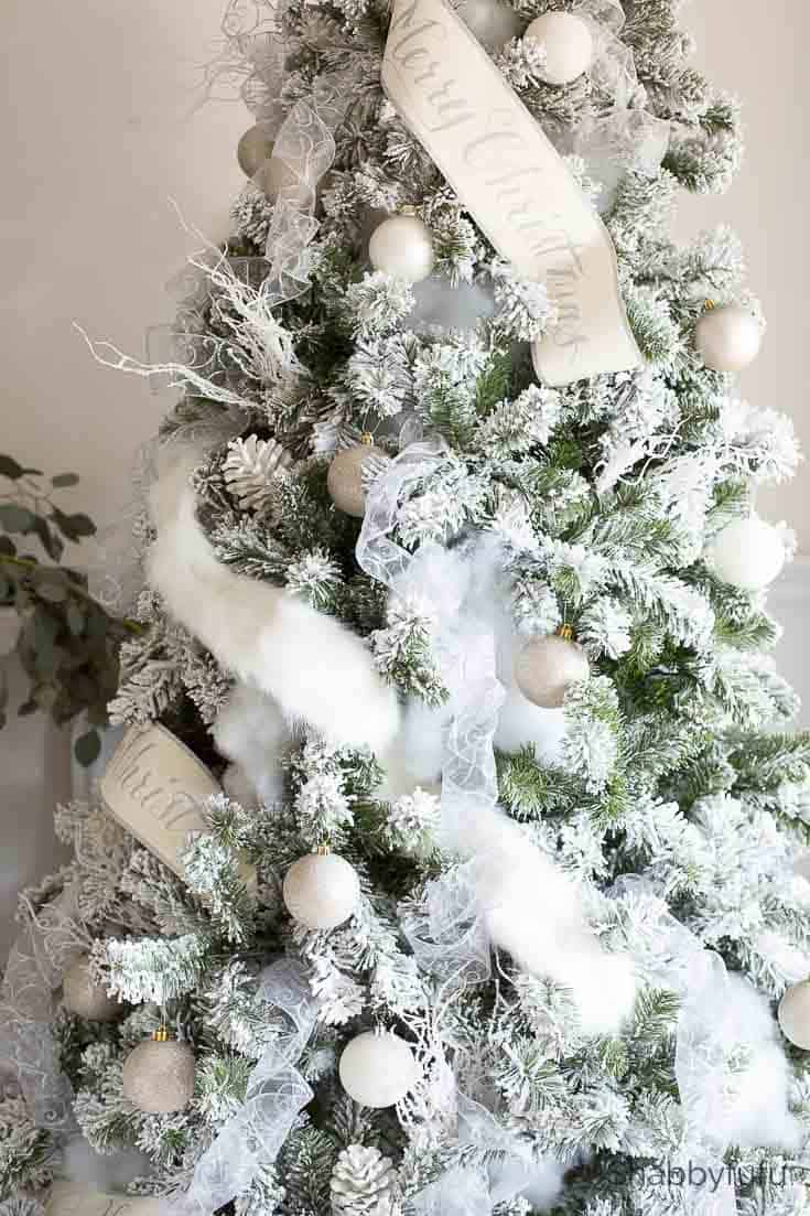 french country christmas flocked tree tips