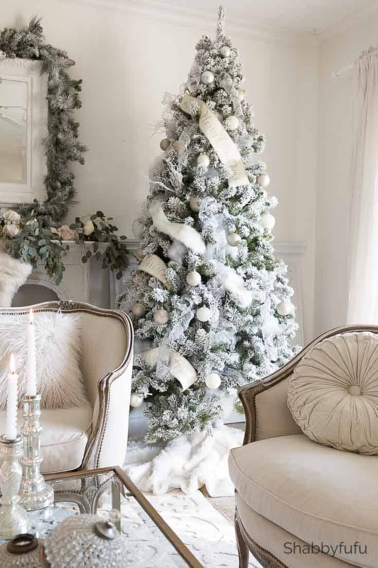 french country christmas white flocked Christmas tree