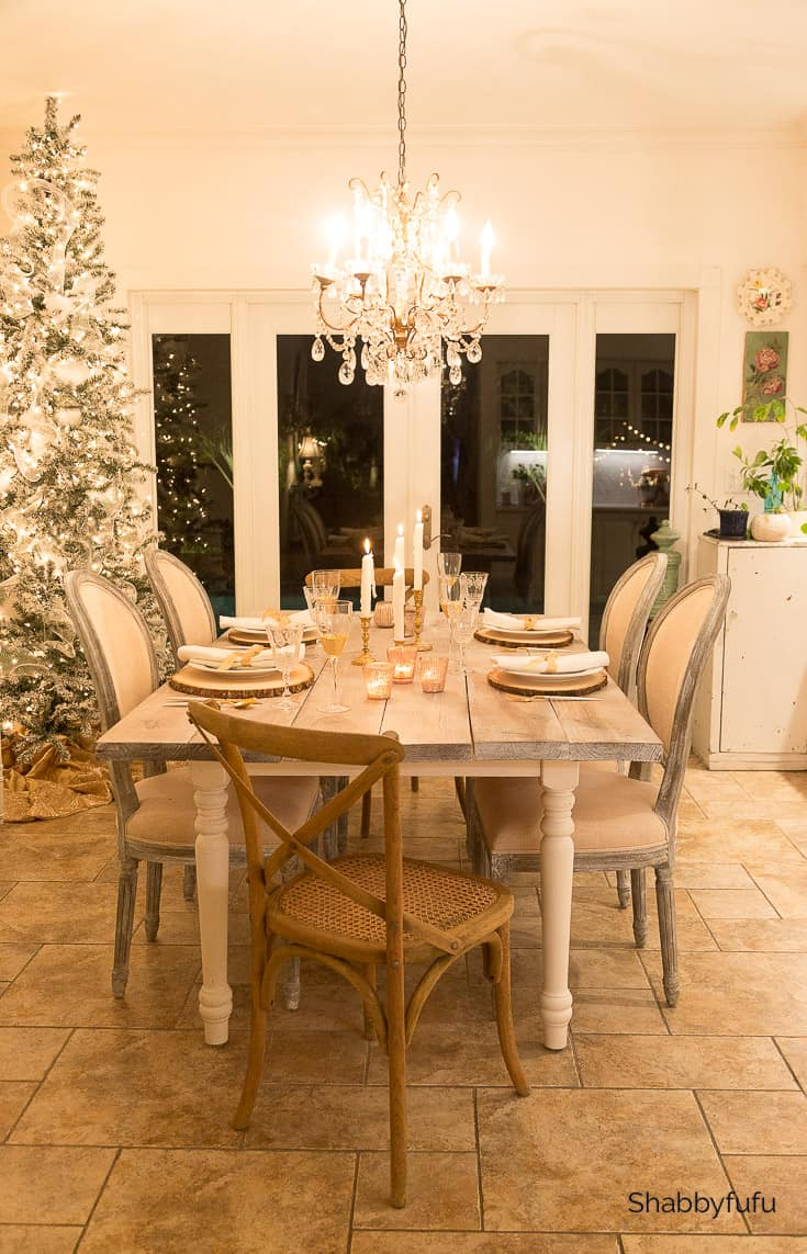 French farmhouse dining room Christmas at night