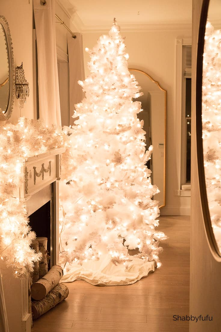 White Christmas at night home tour