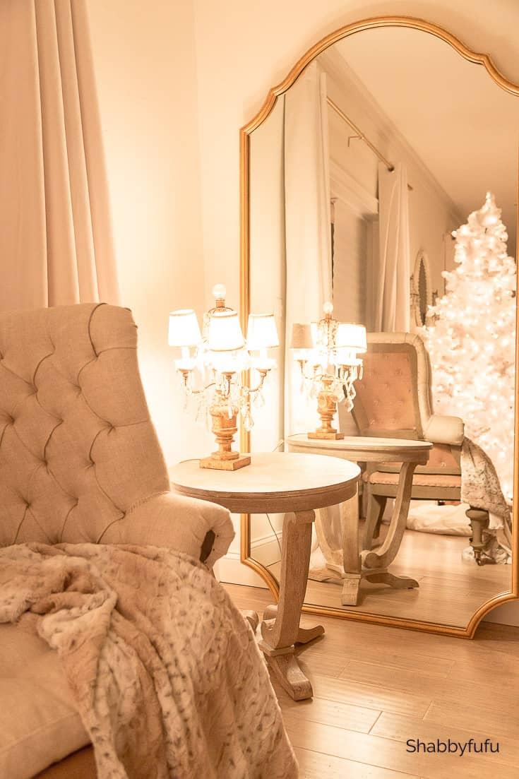 Christmas at night master bedroom