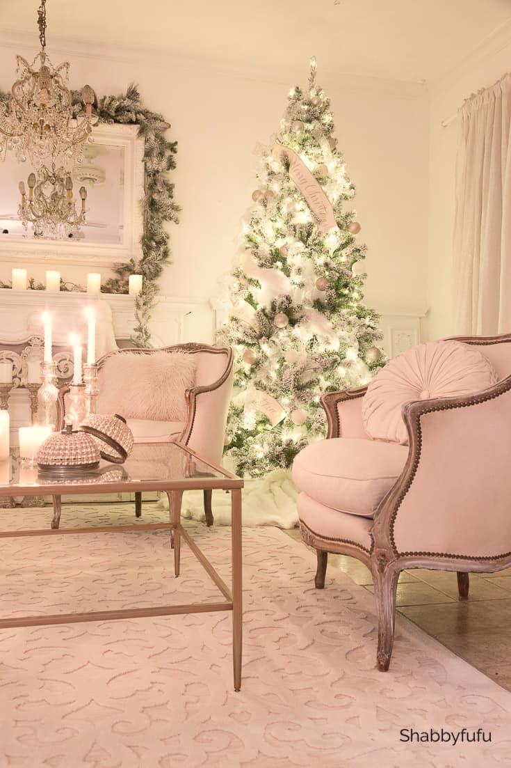 Christmas at night shabbyfufu living room