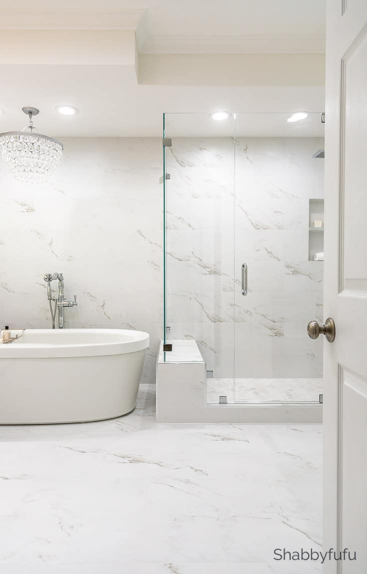 master bathroom makeover marble look porcelain tile
