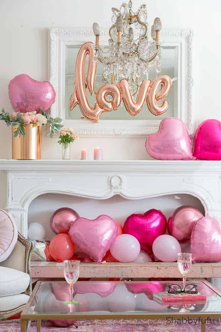 valentines day heart decorations with balloons