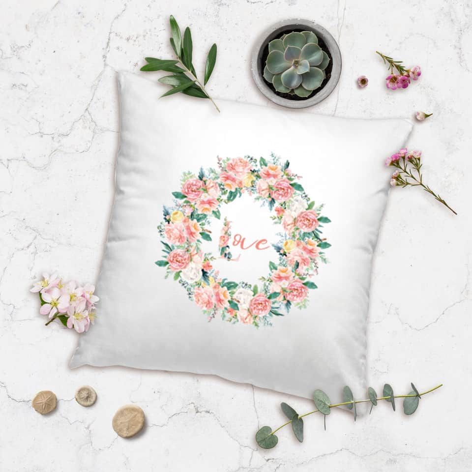 valentines day wreath pillow posh cottage shop #sff225