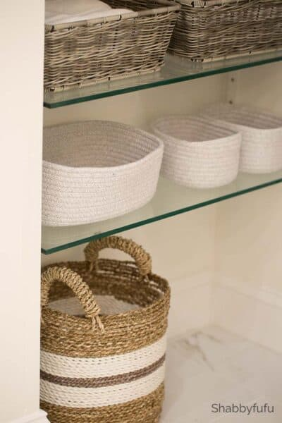 bathroom storage basket ideas for hidden shelving