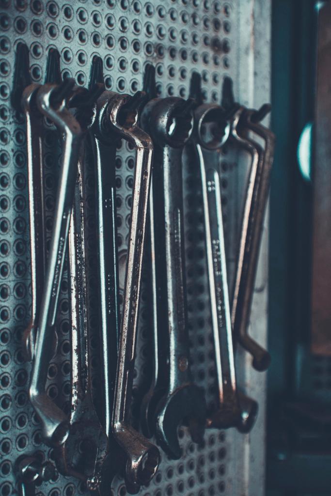 car tools organized in a vertical storage unit