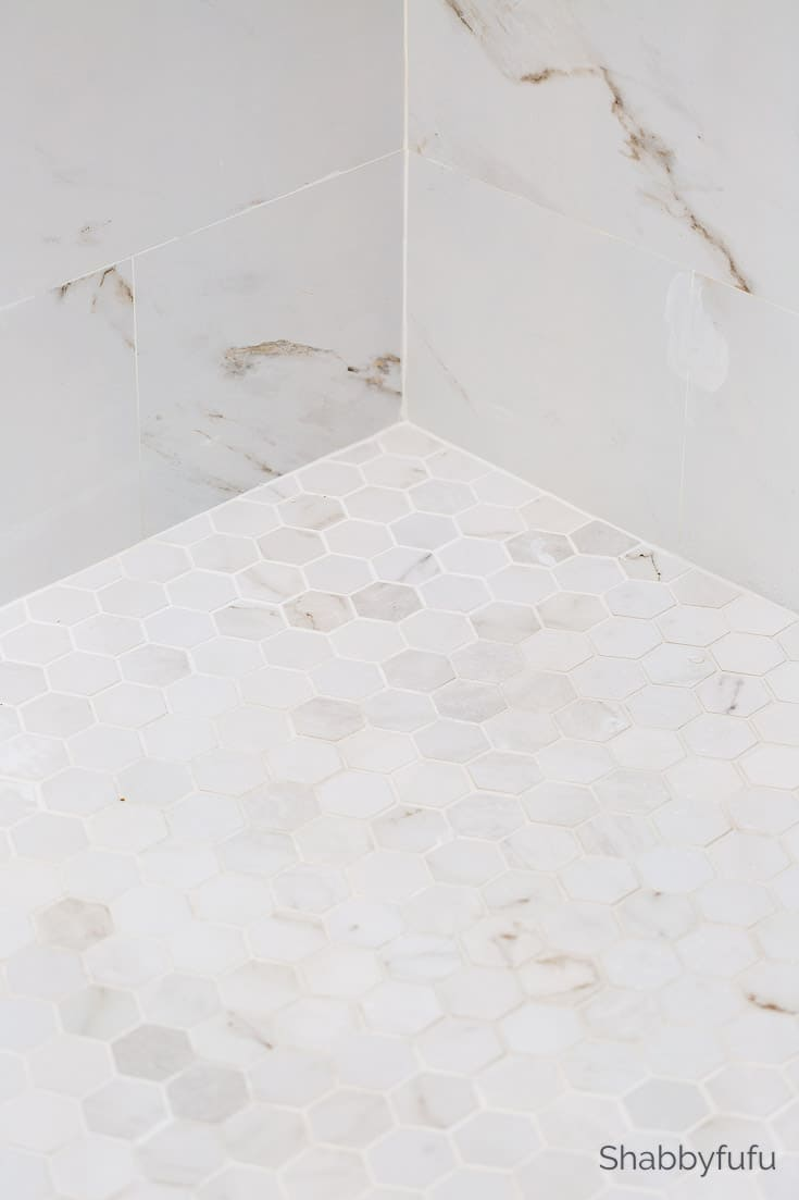 porcelain marble look shower tile #sff225