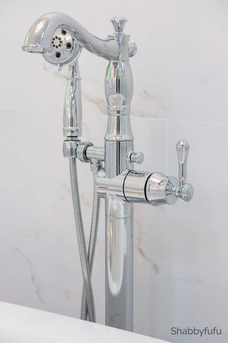 master bathroom makeover polished chrome tub filler