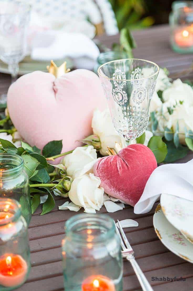 pink velvet hearts valentines day table setting shabbyfufu